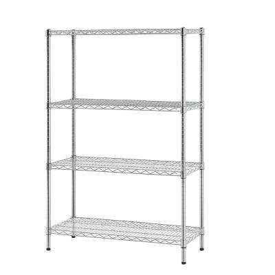 48 in. W x 60 in. H x 18 in. D Multi-Purpose 4-Tier Wire Shelving, Chrome