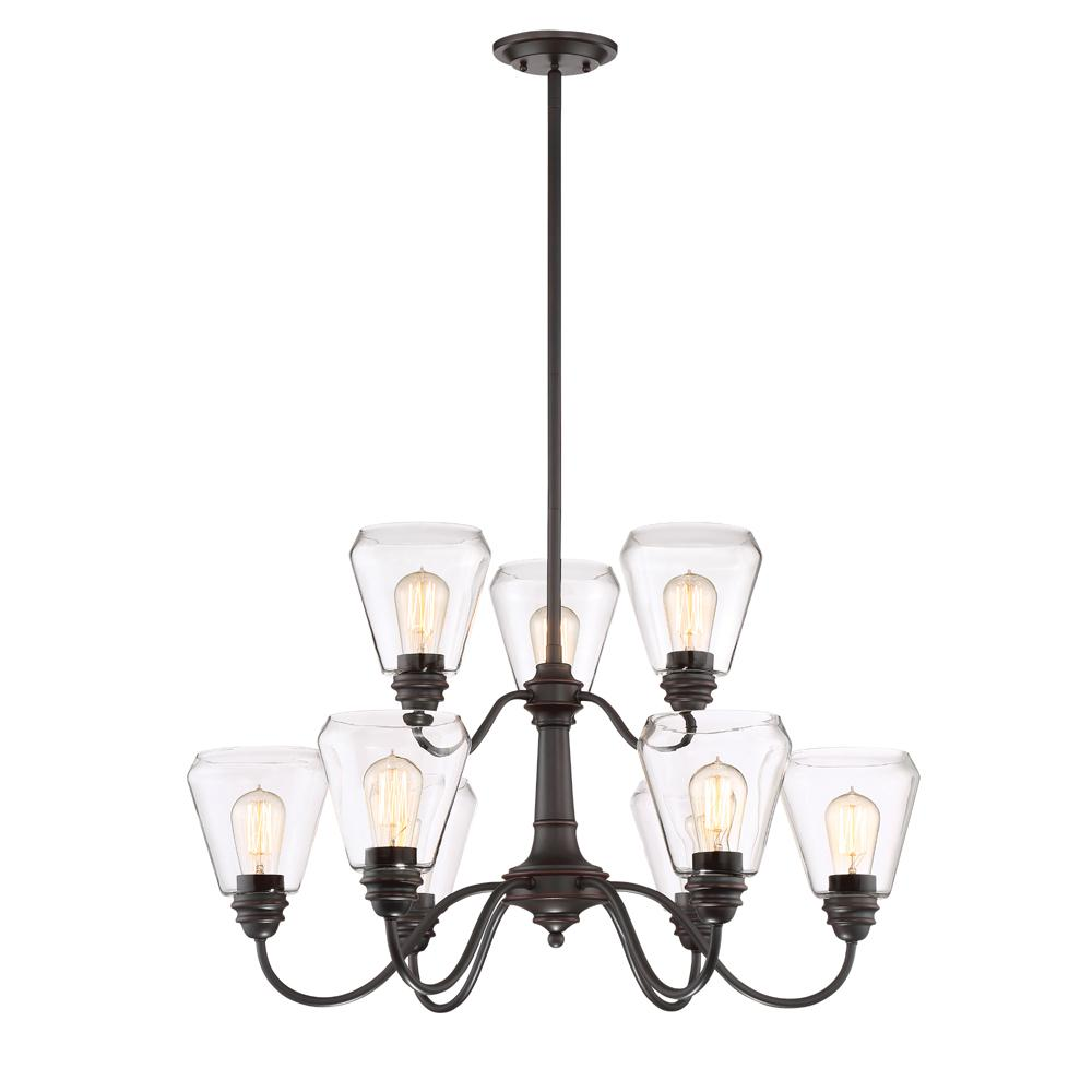 Designers Fountain Foundry 9-Light Satin Bronze Chandelier with Clear Glass Shade