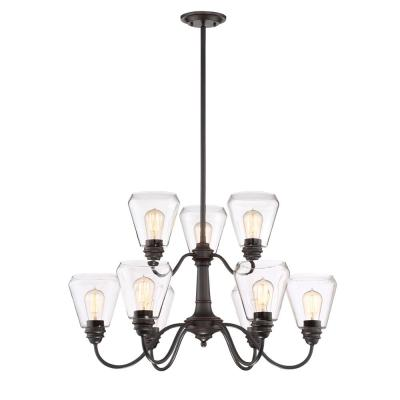 Foundry 9-Light Satin Bronze Chandelier with Clear Glass Shade