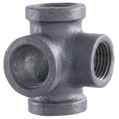 Pipe Decor 1/2 in. 4-Way Black Iron Pipe Side Outlet Tee (2-Pack)