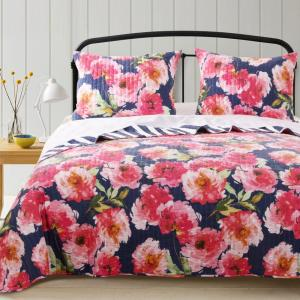 Peony Posy Navy Quilt Set, 3-Piece Full/Queen