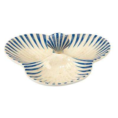 Seaside 11 in. x 10.5 in. Multi-Colored Ceramic 3-D Shell 3-Section Server