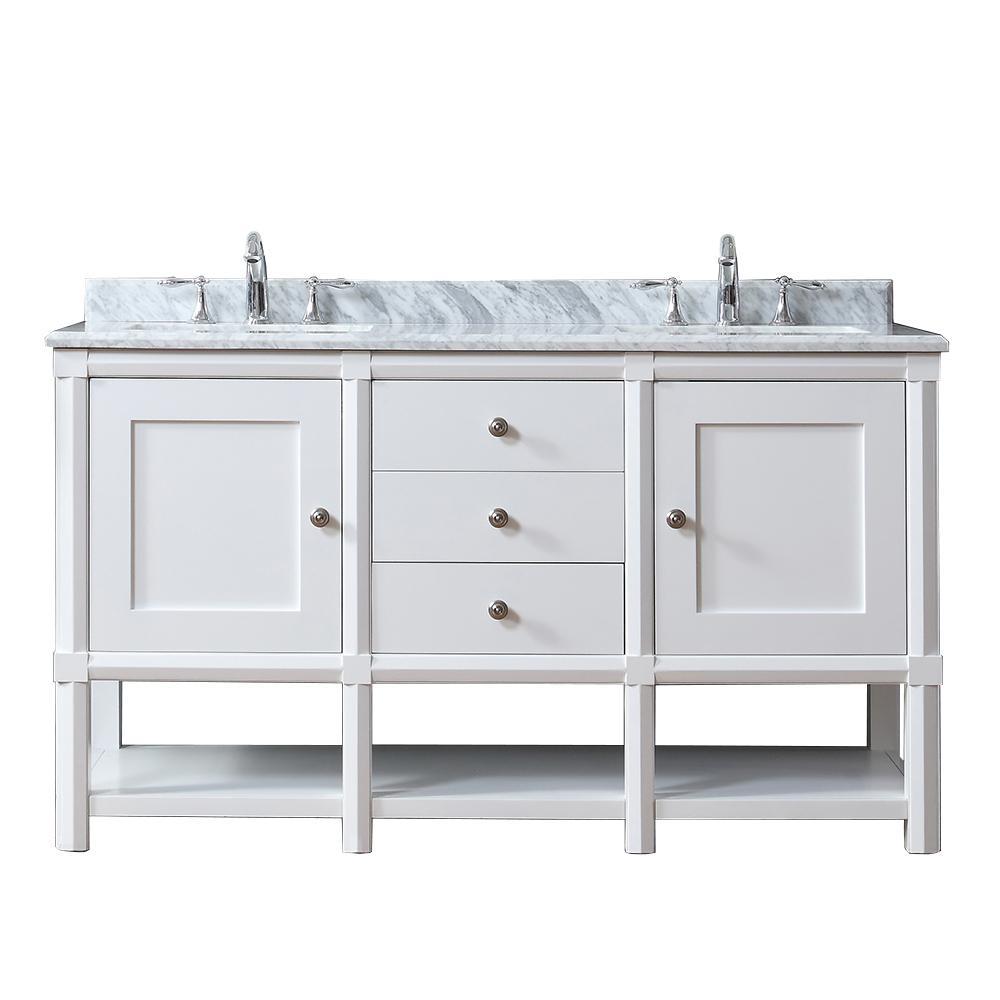 Martha Stewart Living Vanity Bright White Marble Vanity Top White Grey White Basin