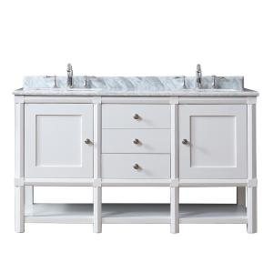 Martha Stewart Living Sutton 60 In W X 22 In D Vanity In Bright White With Marble Vanity Top