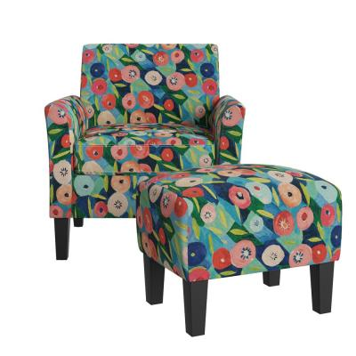 Mimi Rose Half Round Vibrant Poppy Floral Arm Chair and Ottoman Set