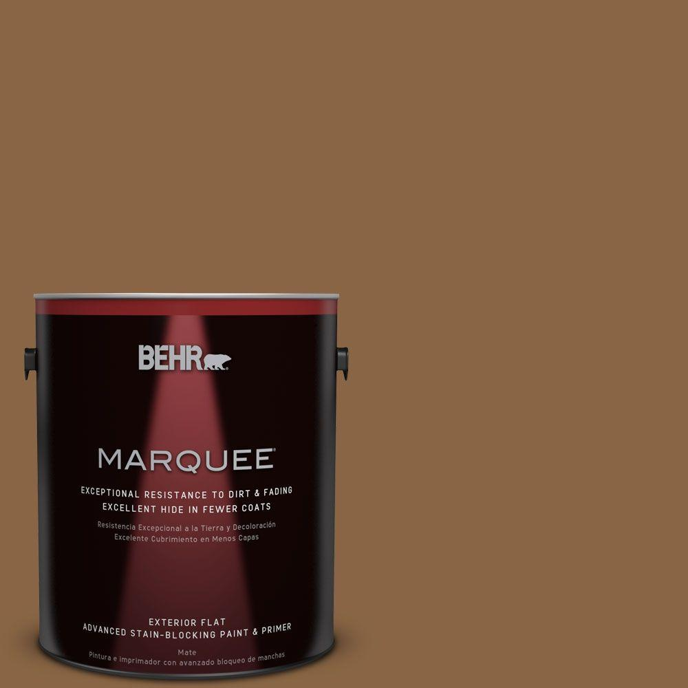 BEHR MARQUEE 1-gal. #QE-31 Barcelona Brown Flat Exterior Paint ...