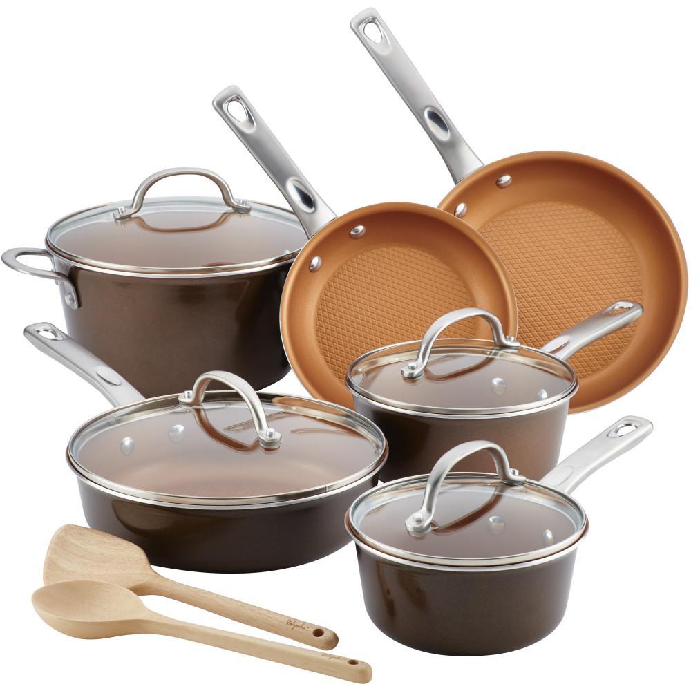 Home Collection 12-Piece Brown Sugar Porcelain Enamel Nonstick Cookware Set