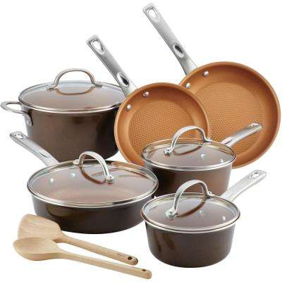 Home Collection 12-Piece Brown Sugar Porcelain Enamel Nonstick Cookware Set
