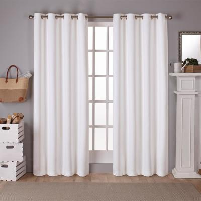 Sateen 52 in. W x 84 in. L Woven Blackout Grommet Top Curtain Panel in Vanilla (2 Panels)