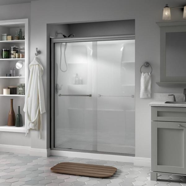 Everly 60 in. x 70 in. Semi-Frameless Traditional Sliding Shower Door in Nickel with Niebla Glass