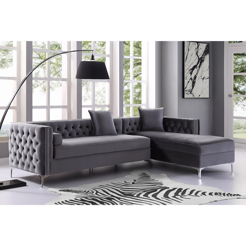 Tremendous Inspired Home Olivia Grey Silver Velvet Right Facing Ibusinesslaw Wood Chair Design Ideas Ibusinesslaworg