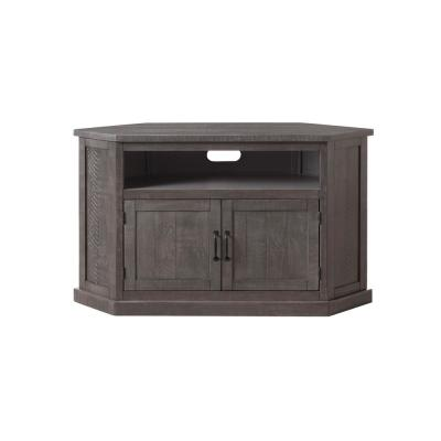 Rustic Corner Grey Wood Corner TV Stand Fits TVs Up to 55 in. with Cable Management