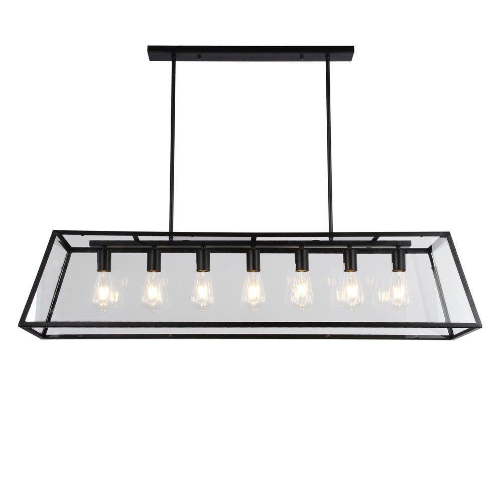 Sheriz 13 in. 7-Light Indoor Black Chandelier with Light Kit
