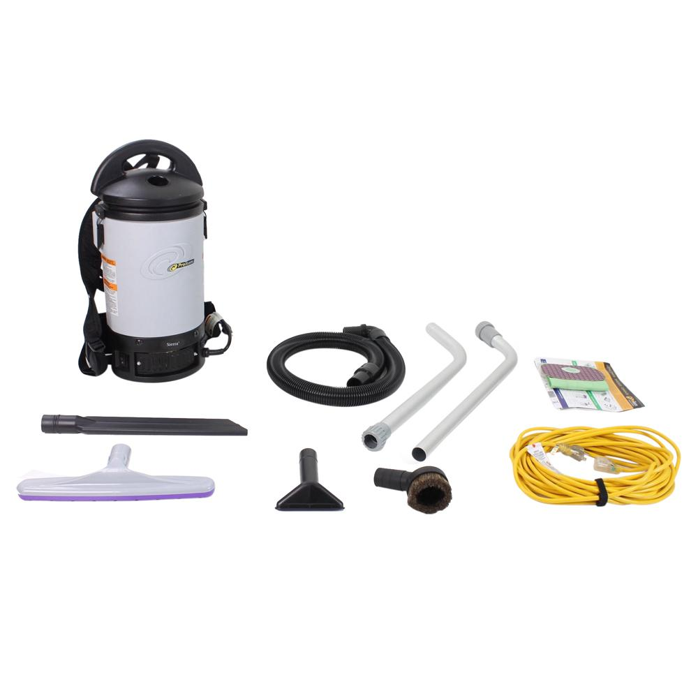 Proteam New Sierra Commercial Backpack Vacuum Cleaner With 1 1 2 In Tools And Restaurant Kit