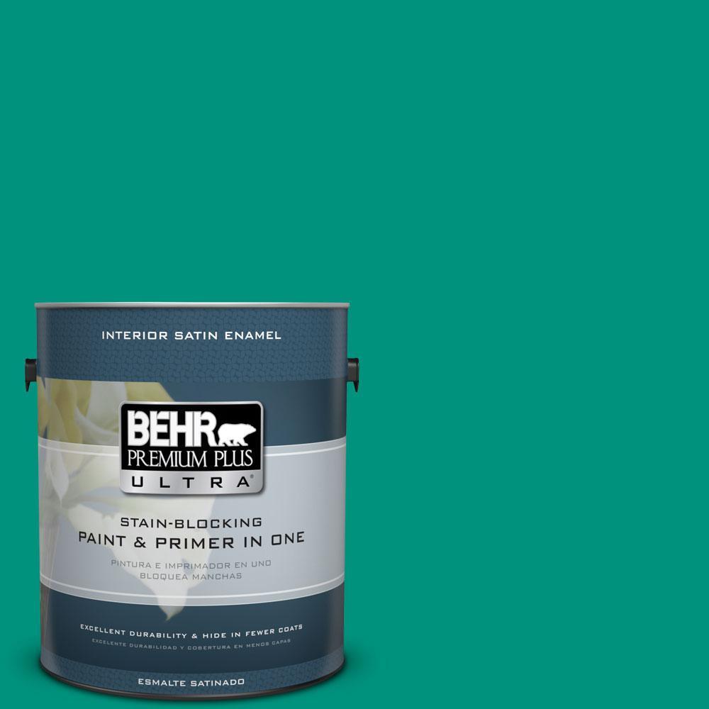 BEHR Premium Plus Ultra 1-gal. #S-G-480 Aqua Waters Satin Enamel Interior Paint
