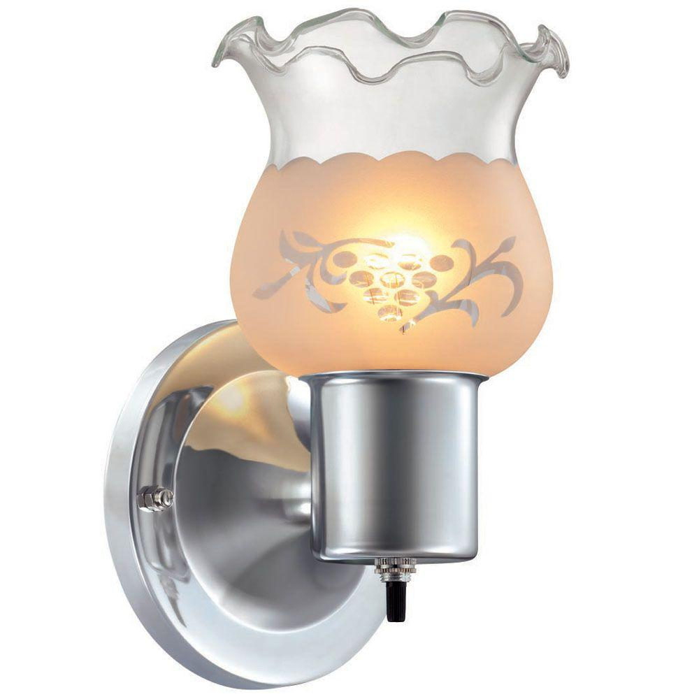 1-Light Chrome Sconce with Frosted Etched Glass Shade
