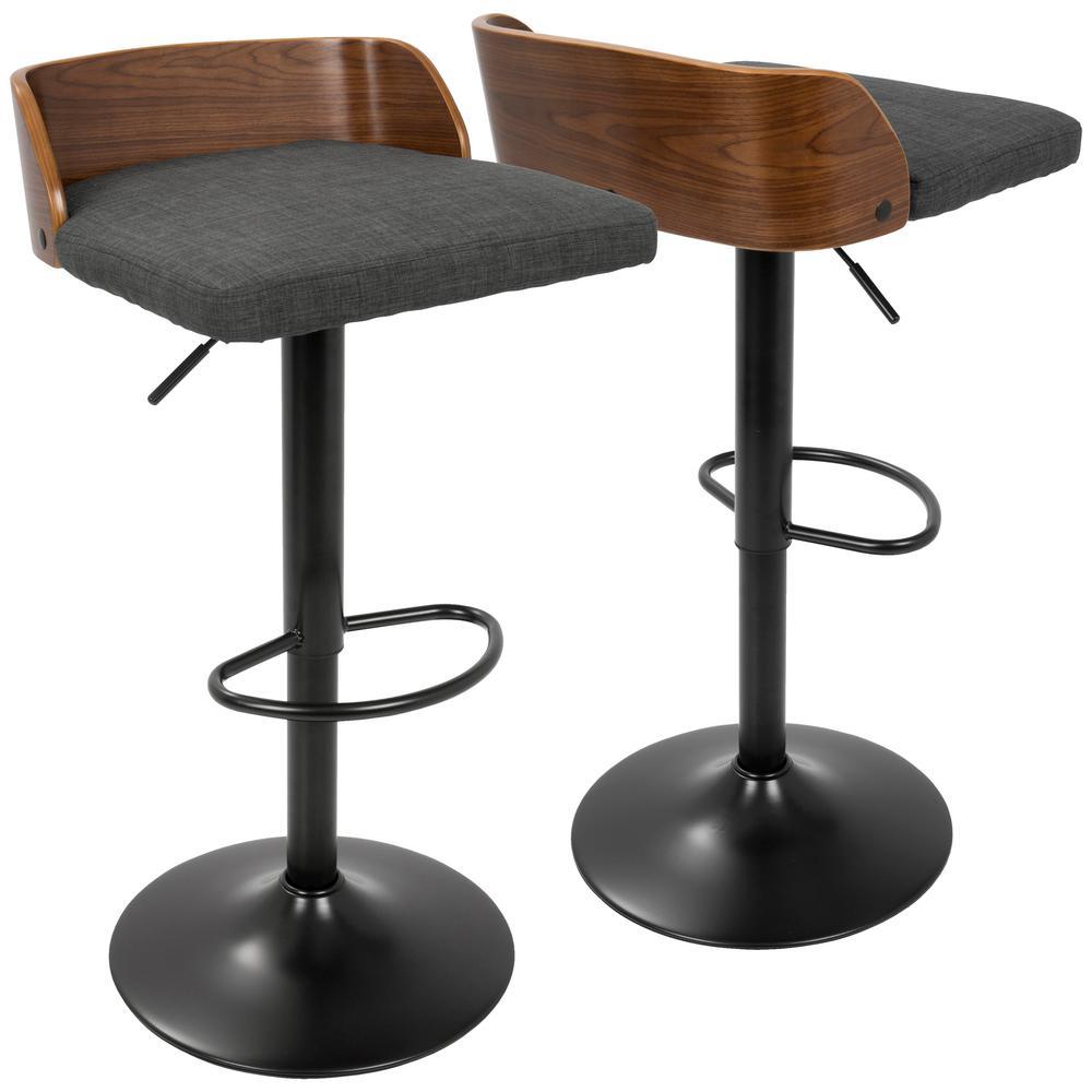 06dba3e22a99 Lumisource Maya Adjustable Height Walnut and Charcoal Bar Stool BS ...