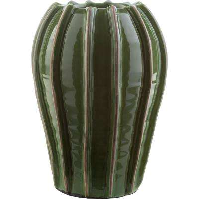 Sanub 12.6 in. Green Ceramic Decorative Vase
