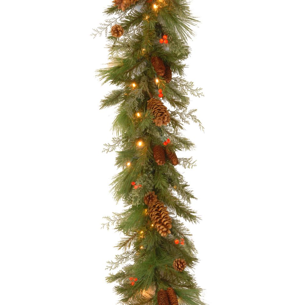 6 ft. White Pine Garland with Battery Operated Warm White and