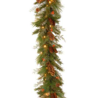 6 ft. White Pine Garland with Battery Operated Warm White and Red LED Lights