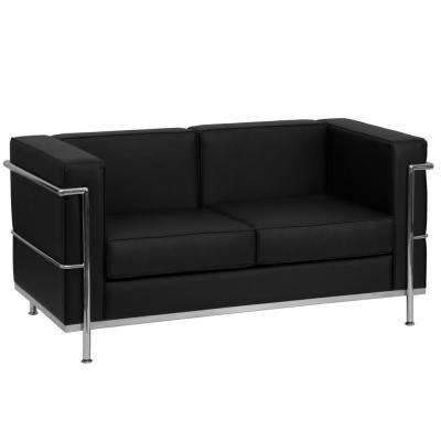 Hercules Regal Series Contemporary Black Leather Loveseat with Encasing Frame