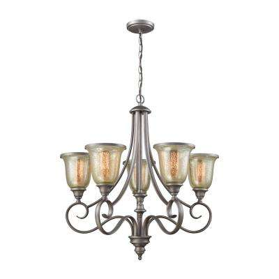 Georgetown 5-Light Weathered Zinc Chandelier With Mercury Glass Shades