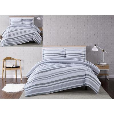 Curtis 3-Piece White/Grey Stripe Full/Queen Comforter Set