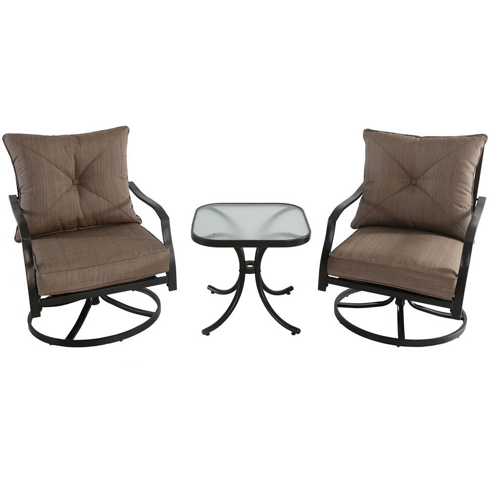 Palm Bay 3-Piece Steel Outdoor Bistro Set with Swivel Chairs and