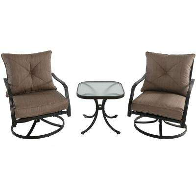 Palm Bay 3-Piece Steel Outdoor Bistro Set with Swivel Chairs and Copper Cushions