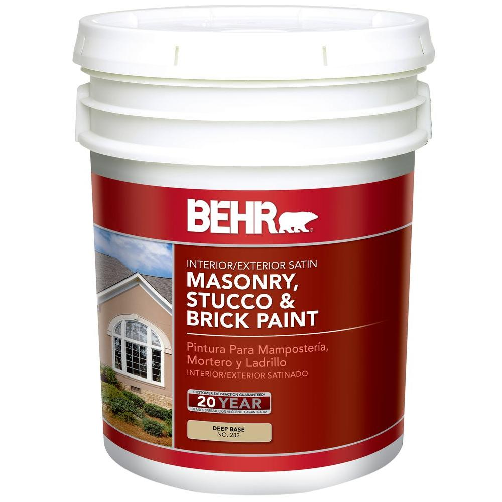 BEHR 5 Gal. Deep Base Satin Masonry, Stucco And Brick Interior/Exterior