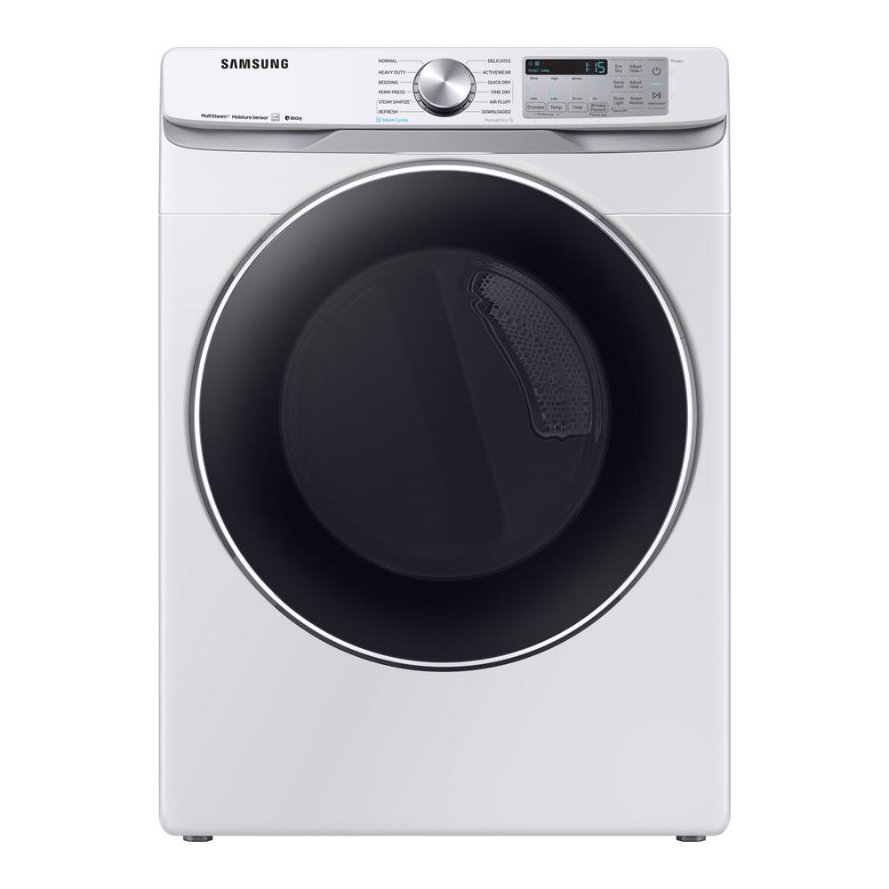 Samsung 7 5 cu  ft  White Electric Dryer with Steam Sanitize+, ENERGY STAR