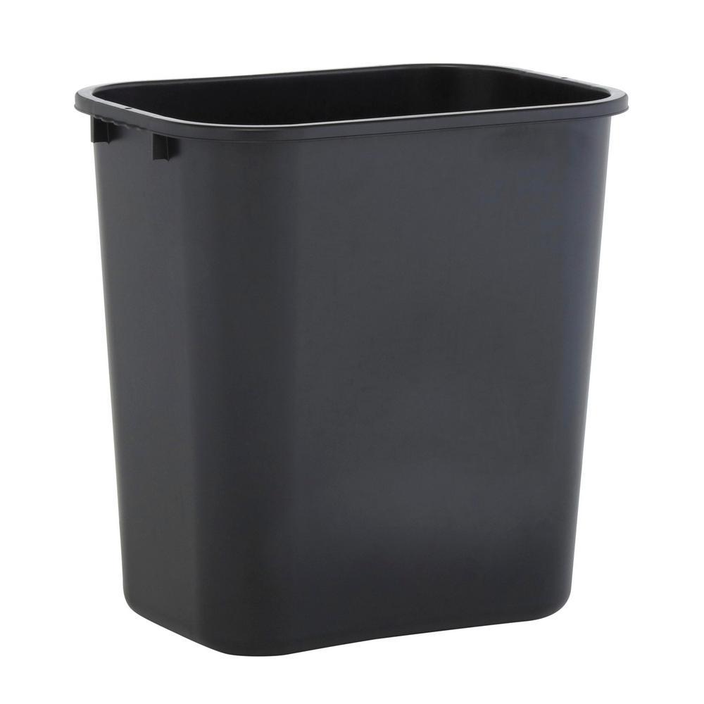 Black Wastebasket Pack of 2 Sparco Rectangular 7 Gal