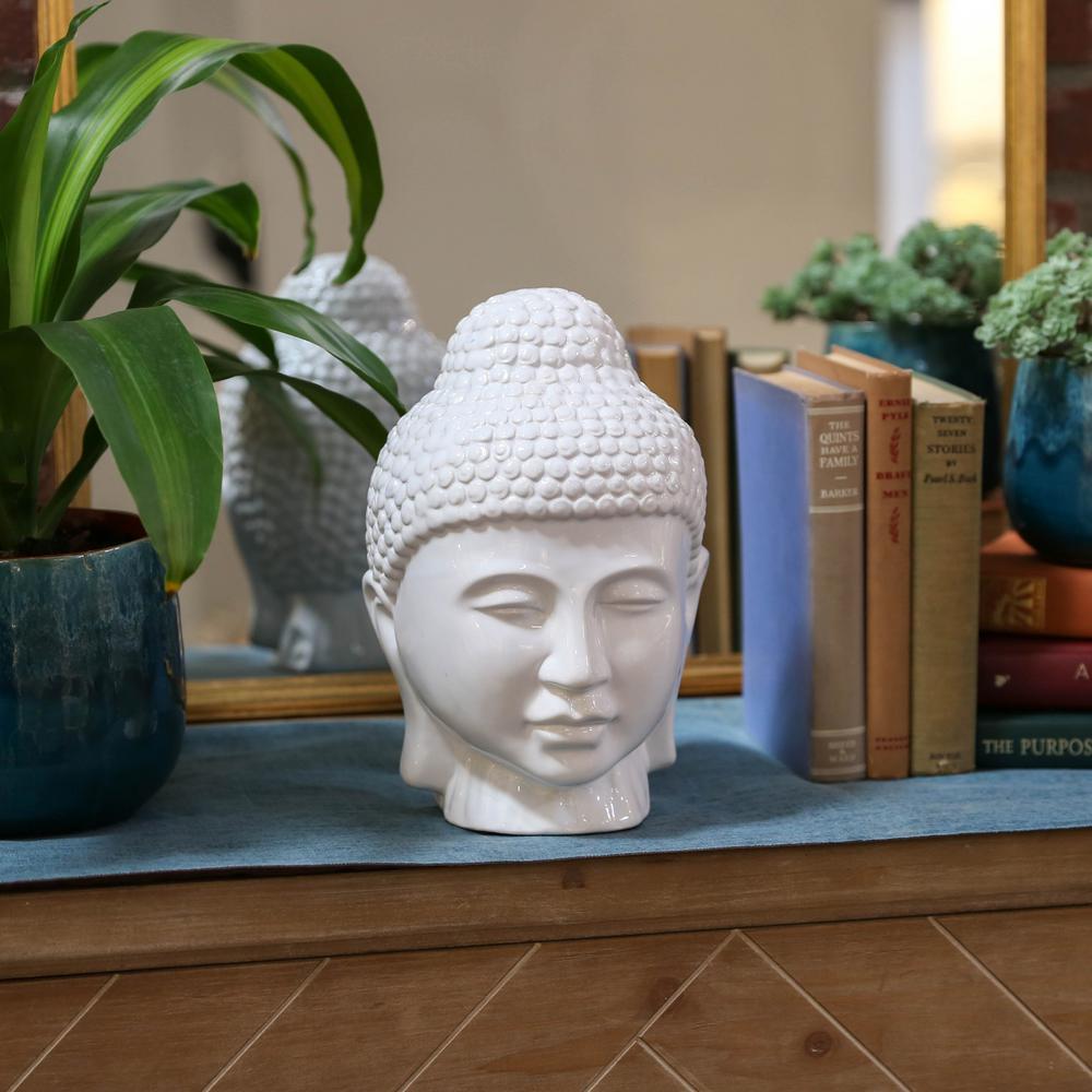 11 in. H Buddha Decorative Sculpture in White Gloss Finish
