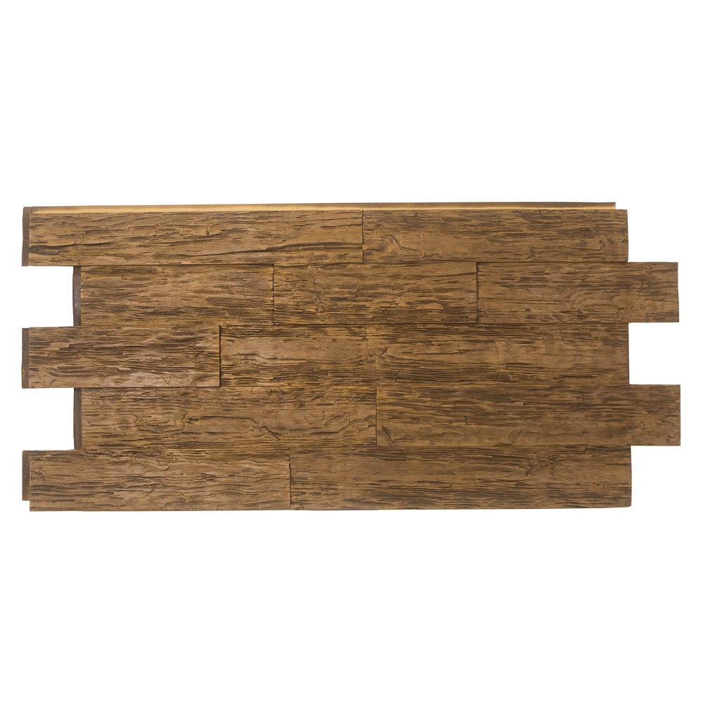 Superior Building Supplies Time Weathered Faux Rustic Panel 1-1/4 in. x 23 in. x 48 in. Custom Walnut Polyurethane Interlocking Panel