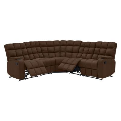 5-Piece Dark Brown Microfiber 4-Seater Curved Reclining Sectional Sofa with Storage Consoles