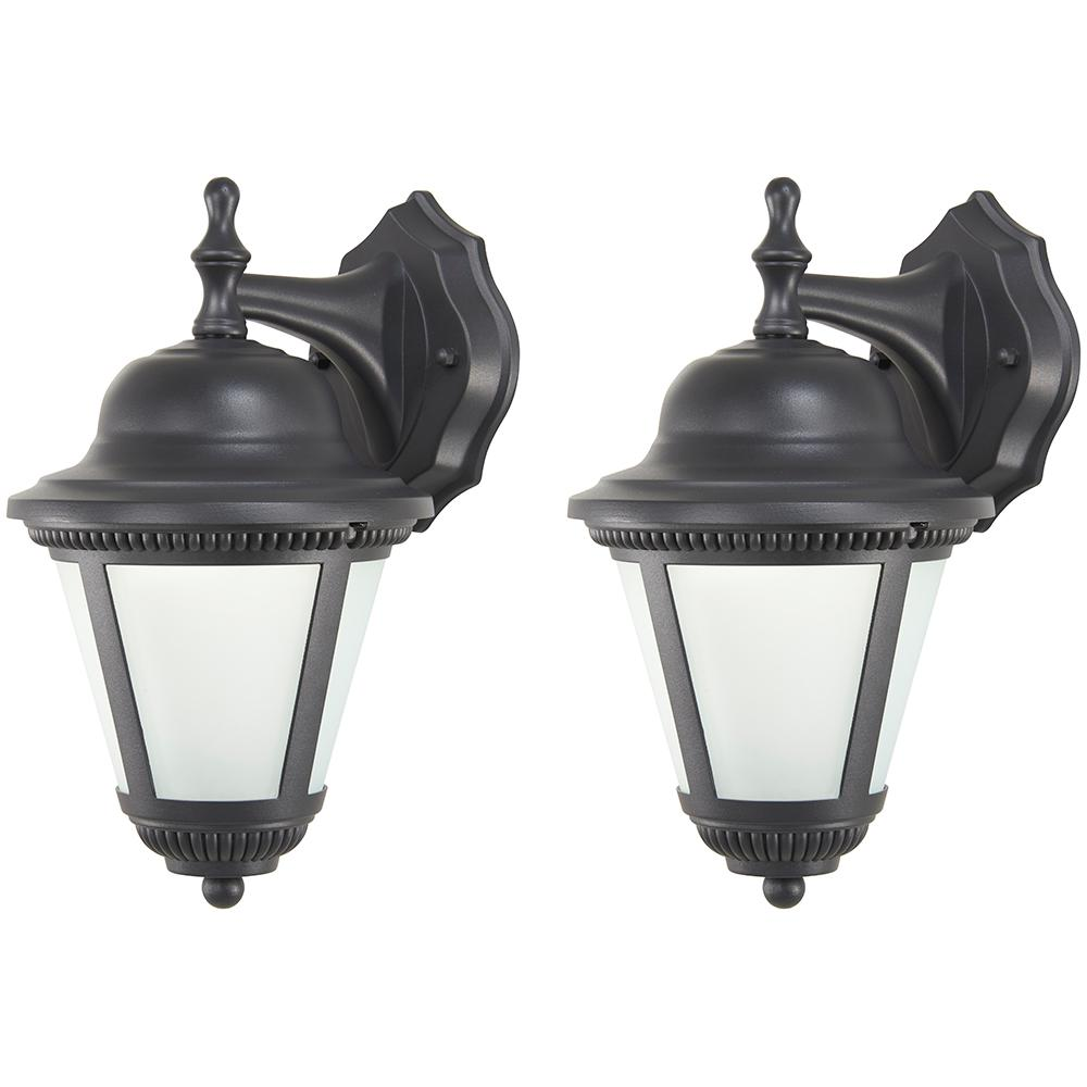 1-Light Black Outdoor Integrated LED Wall Mount Lantern (2-Pack)