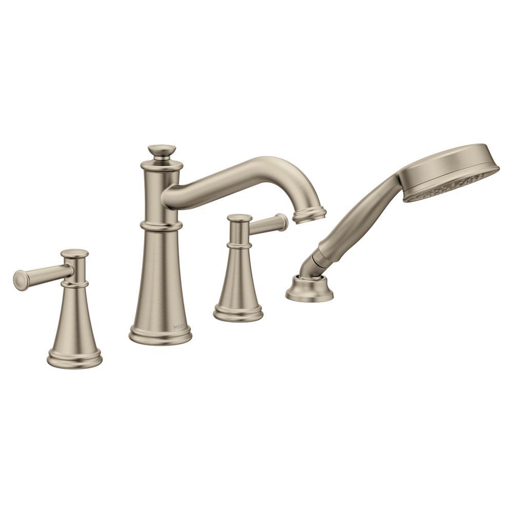 Belfield 2-Handle Deck-Mount Roman Tub Faucet Trim Kit with Handshower in Brushed Nickel (Valve Not Included)