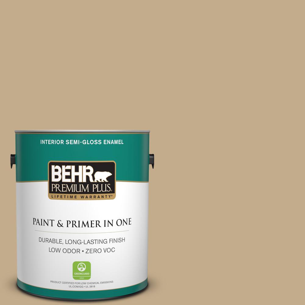 1 gal. #PPU7-21 Woven Straw Zero VOC Semi-Gloss Enamel Interior Paint