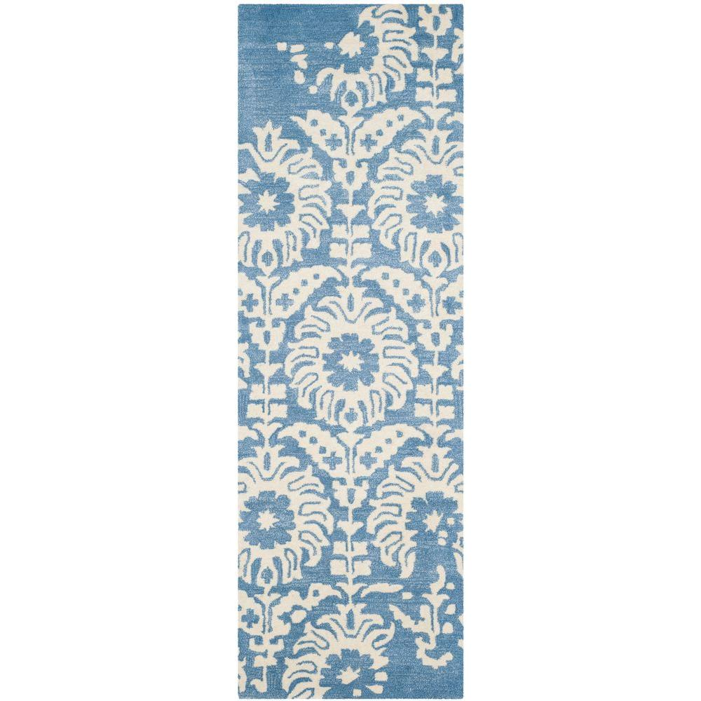 Bella Light Blue/Ivory 2 ft. 3 in. x 7 ft. Runner