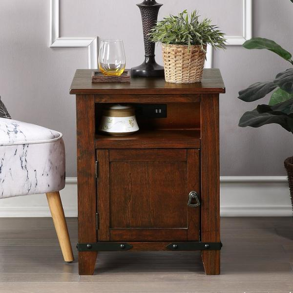 Industrial Brown Nightstand with USB Charging Ports and outlet