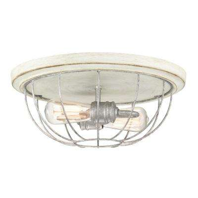 15.75 in 2-Light Galvanized Flushmount with Antique White Wood Accents and Open Cage Frame