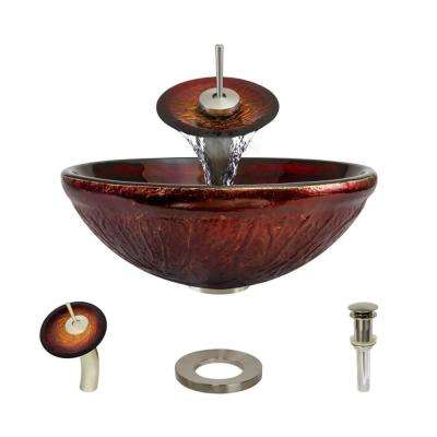 Glass Vessel Sink in Fiery Red with Waterfall Faucet and Pop-Up Drain in Brushed Nickel