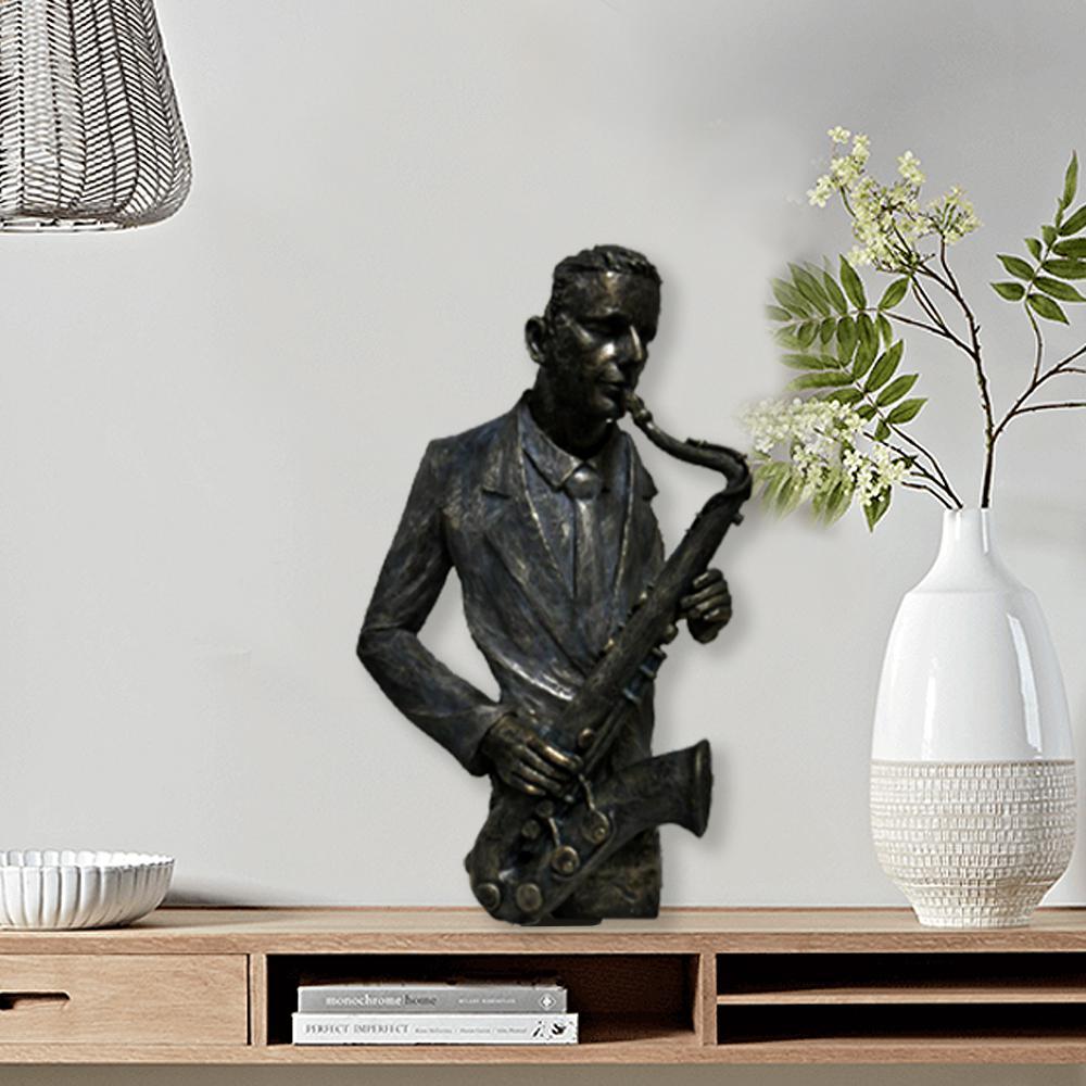 Saxophone Player Statue Patina Black Sculpture