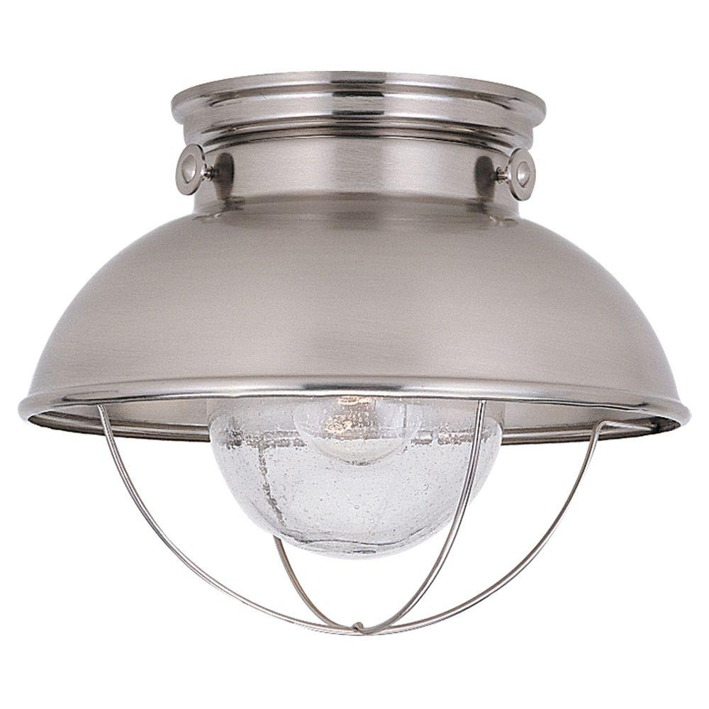 Sea Gull Lighting Sebring 1 Light Brushed Stainless Outdoor 9 25 In Ceiling Fixture
