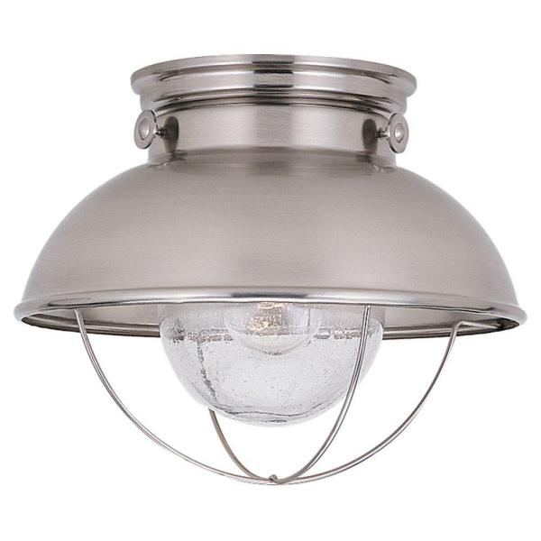 Sebring 1-Light Brushed Stainless Outdoor 9.25 in. Ceiling Fixture