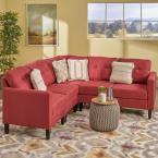 Noble House Delilah Mid-Century Modern 5-Piece Red Fabric Sectional Sofa Set