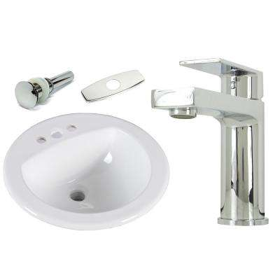 19 in. Round Top Mount / Self Rimming / Drop in Ceramic Sink with Polished Chrome Bathroom Faucet /Pop-up Drain Combo