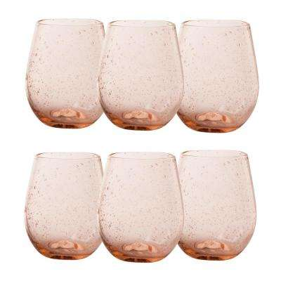 Bubble Glass 16 oz. Rose Stemless Wine Glass (6-Pack)