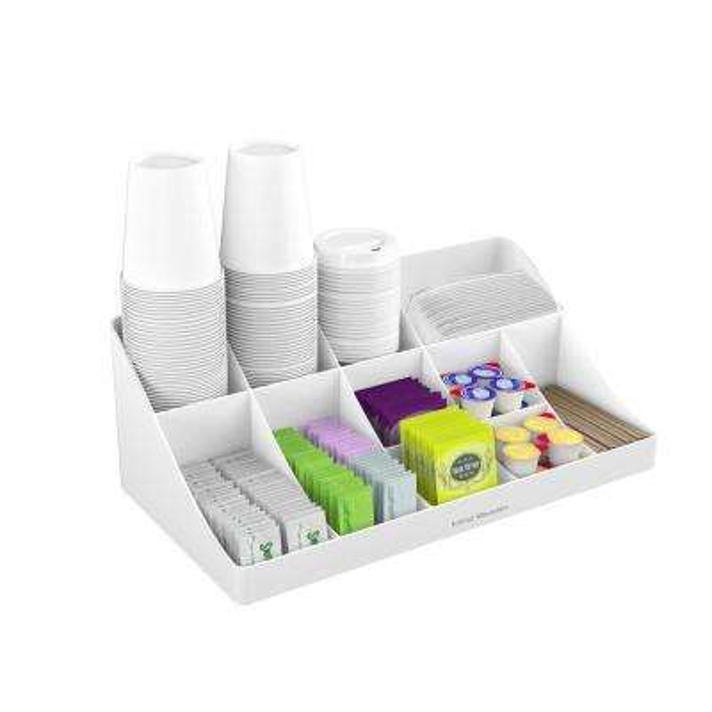 11-Compartment White Coffee Condiment Organizer
