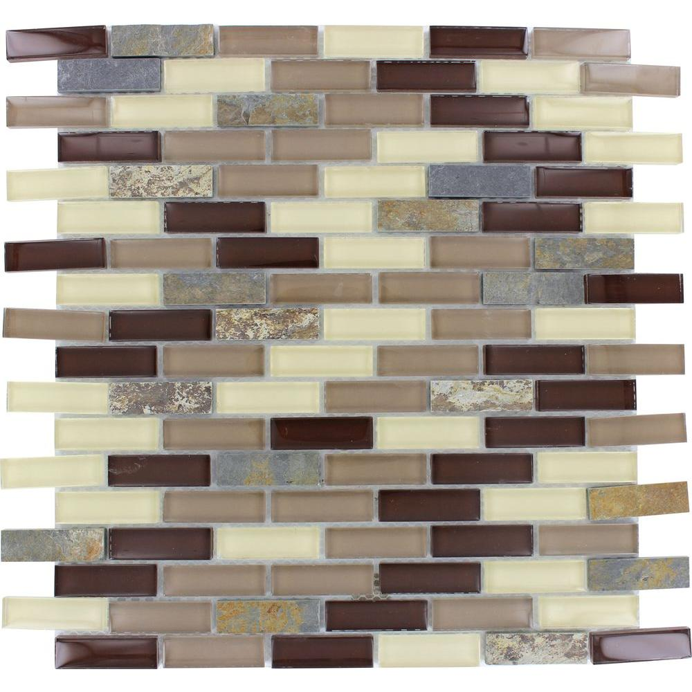 null Rolling Hills Brick 12 in. x 12 in. x 6 mm Glass Stone Mesh-Mounted Mosaic Tile